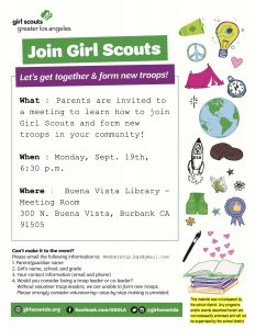 Burbank Girl Scouts Recruitment Night @ Buena Vista Library  - Meeting Room | Burbank | California | United States