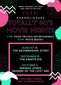 Magnolia Park Totally 80's Movie Night - Indiana Jones Raiders Of The Lost Ark @ UME Credit Union | Burbank | California | United States
